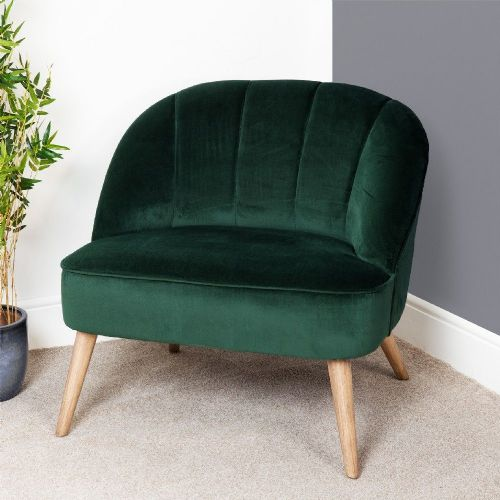 Dark Green Velvet Occasional Lounge or Bedroom Chair